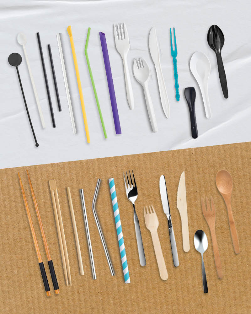 examples of banned straws and utensils